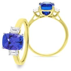 HREGTZ1091 Emerald Shape Tanzanite & Diamond Three Stone Ring - yellow