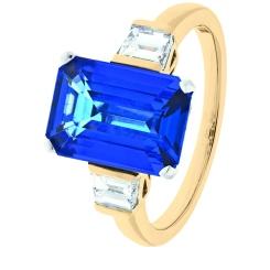 HREGTZ1092 Fancy cut Tanzanite & Diamond Three Stone Ring - rose