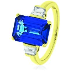 HREGTZ1092 Fancy cut Tanzanite & Diamond Three Stone Ring - yellow