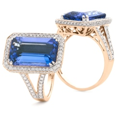 HREGTZ1114 Elongated Tanzanite & Diamond Design Halo Ring - rose