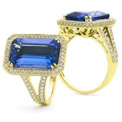 HREGTZ1114 Elongated Tanzanite & Diamond Design Halo Ring - yellow