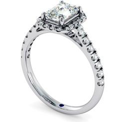 HRESD689 Shoulder set Single Halo Emerald cut Diamond Ring - white