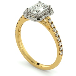 HRESD689 Shoulder set Single Halo Emerald cut Diamond Ring - yellow