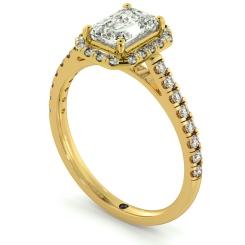 HRESD689 Shoulder set Single Halo Emerald cut Diamond Ring - yellow