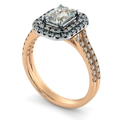 HRESD813 Emerald Halo Diamond Ring - rose