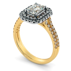 HRESD813 Emerald Halo Diamond Ring - yellow