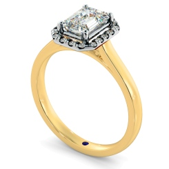 HRESD828 Emerald Halo Diamond Ring - yellow