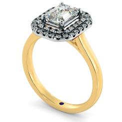 HRESD829 Emerald Halo Diamond Ring - yellow