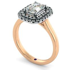 HRESD829 Emerald Halo Diamond Ring - rose