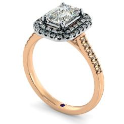 HRESD830 Emerald Halo Diamond Ring - rose