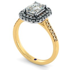 HRESD830 Emerald Halo Diamond Ring - yellow