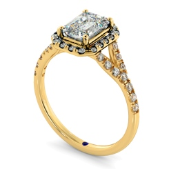 HRESD831 Emerald Halo Diamond Ring - yellow