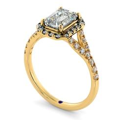 HRESD831 Emerald Halo Diamond Ring - yellow