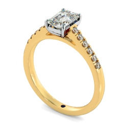 HRESD854 Emerald Shoulder Diamond Ring - yellow