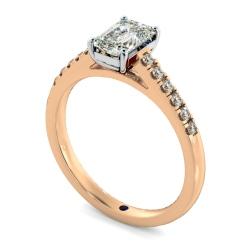 HRESD854 Emerald Shoulder Diamond Ring - rose