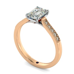 HRESD855 Emerald Shoulder Diamond Ring - rose