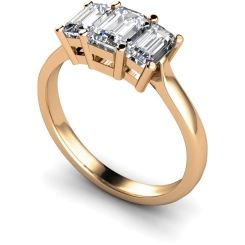 HRETR109 Emerald 3 Stone Diamond Ring - rose
