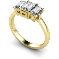 HRETR109 Emerald 3 Stone Diamond Ring - yellow