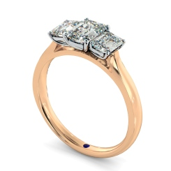 HRETR136 Emerald 3 Stone Diamond Ring - rose