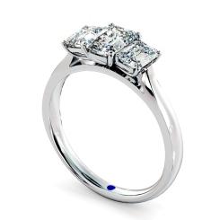 HRETR136 Emerald 3 Stone Diamond Ring - white