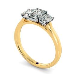 HRETR136 Emerald 3 Stone Diamond Ring - yellow