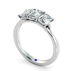 HRETR166 3 Emerald Diamonds Trilogy Ring - white