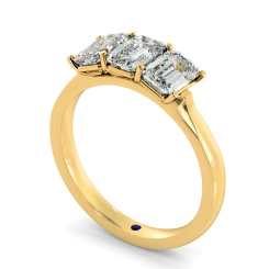 HRETR166 3 Emerald Diamonds Trilogy Ring - yellow