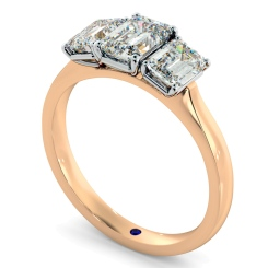 HRETR183 Emerald 3 Stone Diamond Ring - rose