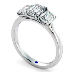 HRETR183 Emerald 3 Stone Diamond Ring - white