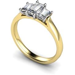 HRETR184 Emerald 3 Stone Diamond Ring - yellow