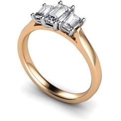 HRETR184 Emerald 3 Stone Diamond Ring - rose