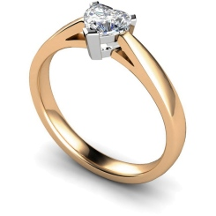HRH278 Heart Solitaire Diamond Ring - rose