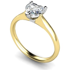 HRH466 Heart Solitaire Diamond Ring - yellow