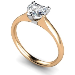 HRH466 Heart Solitaire Diamond Ring - rose