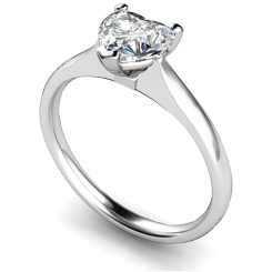 HRH466 Heart Solitaire Diamond Ring - white