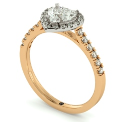 HRHSD730 Heart cut Halo Diamond Ring - rose