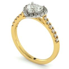 HRHSD730 Heart cut Halo Diamond Ring - yellow