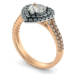 HRHSD818 Heart Halo Diamond Ring - rose