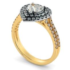 HRHSD818 Heart Halo Diamond Ring - yellow