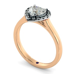 HRHSD847 Heart Halo Diamond Ring - rose