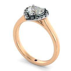 HRHSD847 Heart Halo Diamond Ring - rose