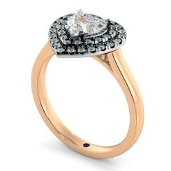HRHSD848 Heart Halo Diamond Ring - rose