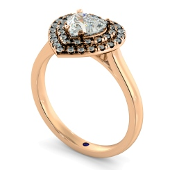 HRHSD848 Heart Halo Diamond Ring - rose