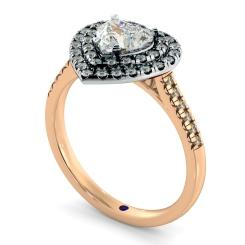 HRHSD849 Heart Halo Diamond Ring - rose