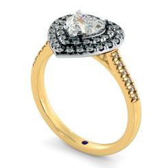 HRHSD849 Heart Halo Diamond Ring - yellow