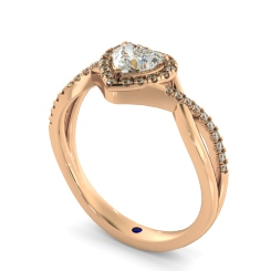 HRHSD850 Heart Halo Diamond Ring - rose