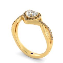 HRHSD850 Heart Halo Diamond Ring - yellow