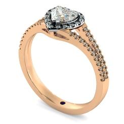 HRHSD851 Heart Halo Diamond Ring - rose
