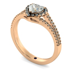 HRHSD851 Heart Halo Diamond Ring - rose