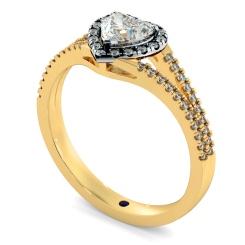 HRHSD851 Heart Halo Diamond Ring - yellow